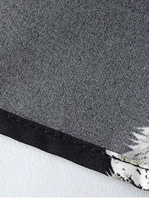 online Kittens Print Long Sleeve Smock Dress - BLACK S Mobile