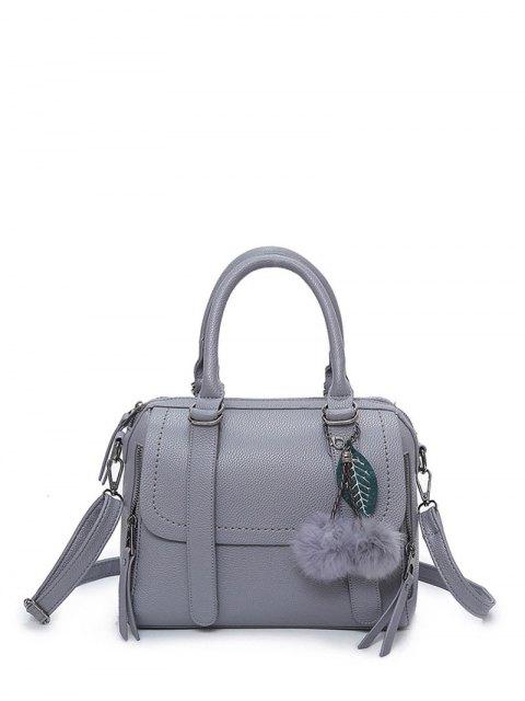 ladies Pompon Straps Faux Leather Handbag - GRAY  Mobile