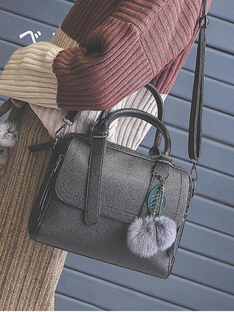 best Pompon Straps Faux Leather Handbag - BLACK  Mobile