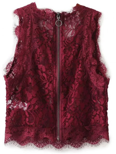 shop Frayed Lace Scalloped Cropped Tank Top - BURGUNDY M Mobile