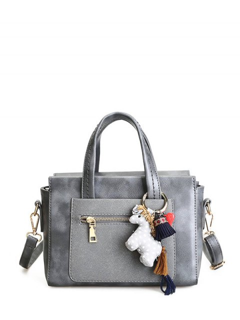 outfit Color Blocking Pendant Handbag - GRAY  Mobile