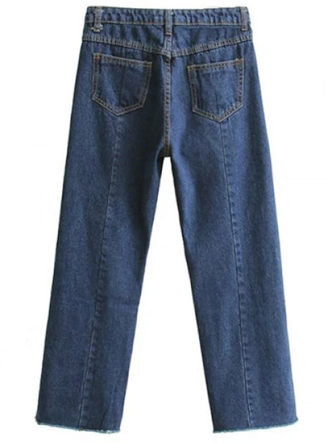 ladies High Waisted Wide Leg Frayed Hem Jeans - DEEP BLUE S Mobile
