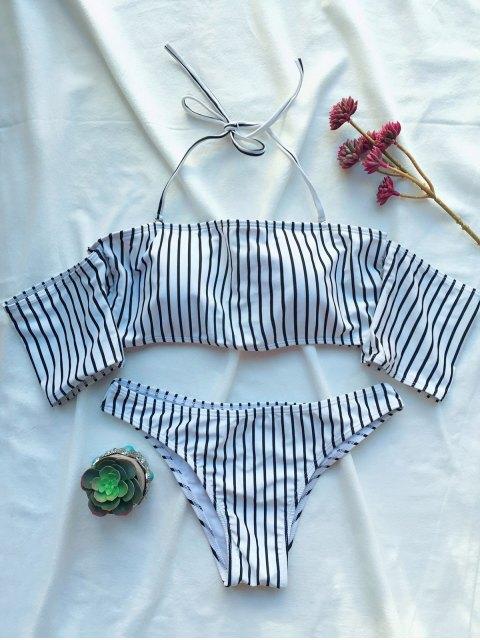 sale Off The Shoulder Strappy Striped Bikini Set - WHITE L Mobile