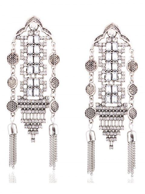 latest Chain Tassel Rhinestone Hollow Out Earrings - SILVER  Mobile