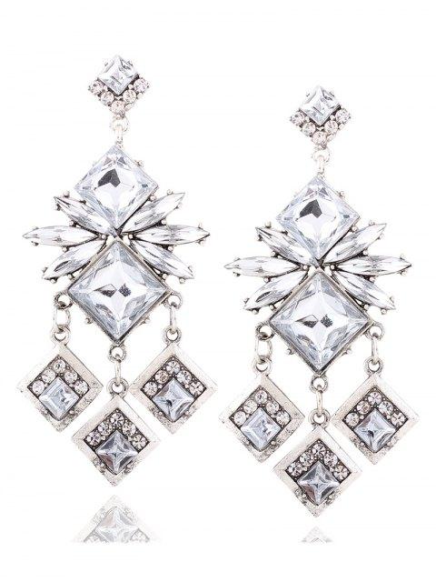 fashion Rhinestone Square Dangle Earrings - WHITE  Mobile