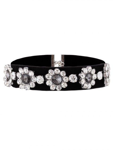 sale Velvet Floral Rhinestone Choker - BLACK  Mobile