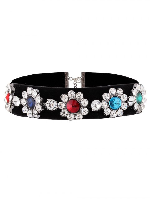 affordable Velvet Floral Rhinestone Choker - COLORFUL  Mobile