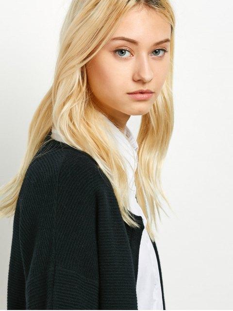 sale Dropped Shoulder Open Cardigan - BLACK ONE SIZE Mobile