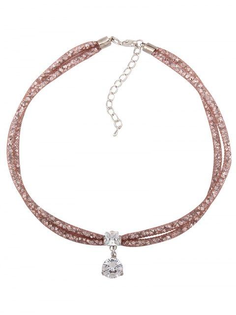 women's Rhinestone Mesh Pendant Necklace - ROSE GOLD  Mobile