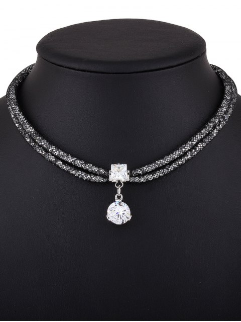 ladies Rhinestone Mesh Pendant Necklace - BLACK  Mobile
