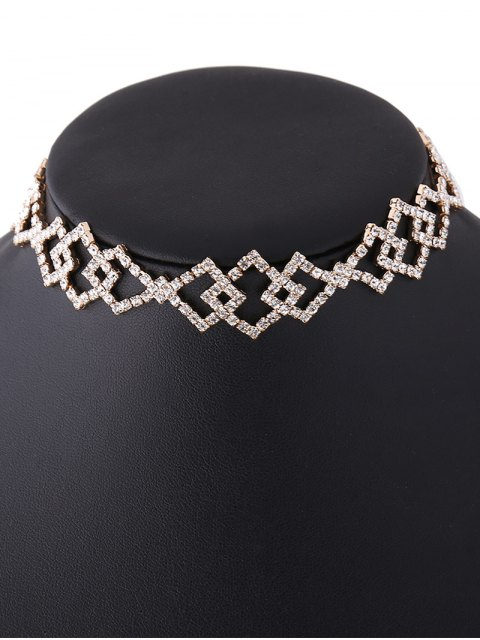 outfit Hollow Out Rhinestoned Rhombus Necklace - CHAMPAGNE  Mobile