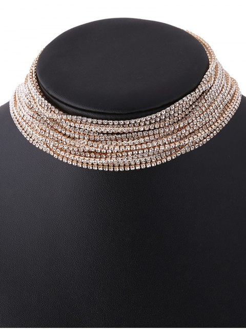 shop Rhinestone Layered Necklace - CHAMPAGNE  Mobile