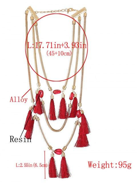 unique Multilayer Tassel Pendant Necklace - RED  Mobile
