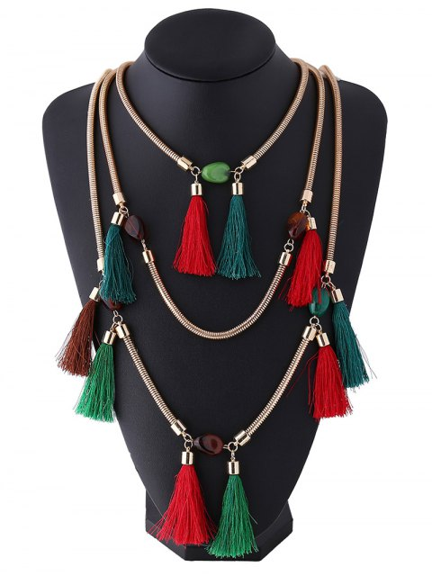 affordable Multilayer Tassel Pendant Necklace - COLORFUL  Mobile