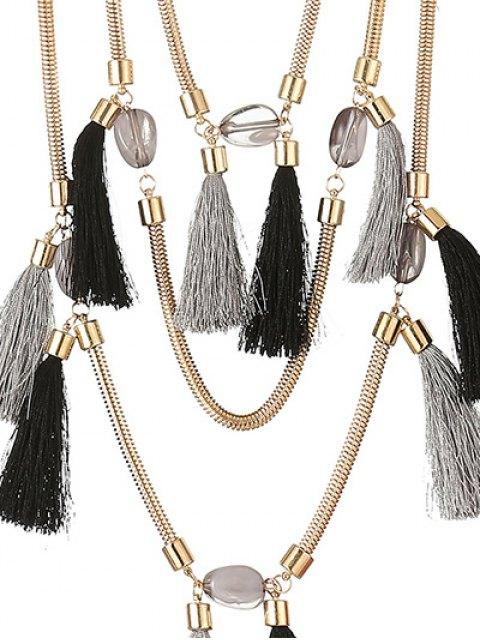 buy Multilayer Tassel Pendant Necklace - BLACK GREY  Mobile