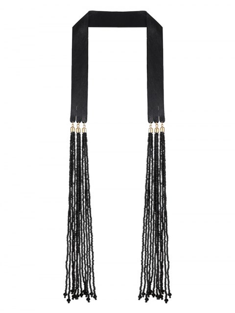 womens Faux Leather Beads Necklace - BLACK  Mobile