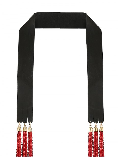 women Faux Leather Beads Necklace - RED  Mobile