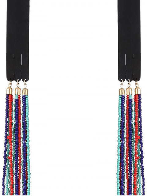 women's Faux Leather Beads Necklace - COLORFUL  Mobile