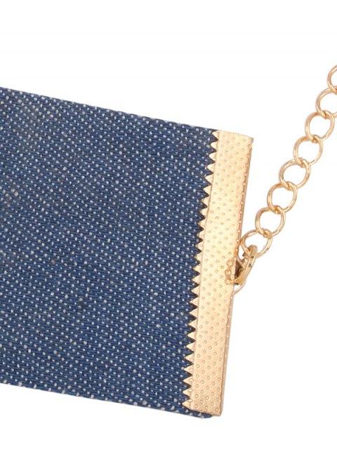 ladies Denim Criss Cross Choker Necklace - DENIM BLUE  Mobile
