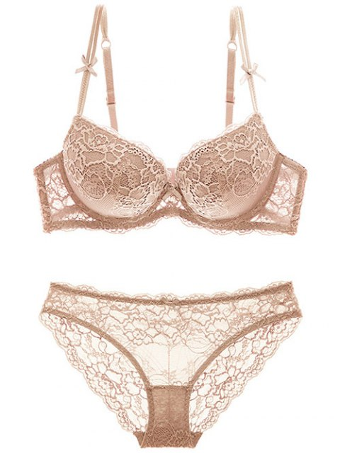 outfit Double Straps Bowknot Lace Panel Bra Set - SKIN COLOR 75B Mobile