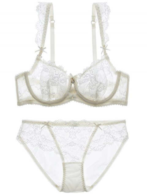 affordable Bowknot Lace Strap Rhinestone Sheer Bra Set - WHITE 80C Mobile