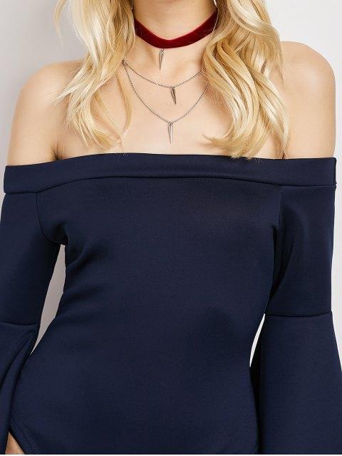 unique Bell Sleeve Off Shoulder Bodysuit - DEEP BLUE M Mobile