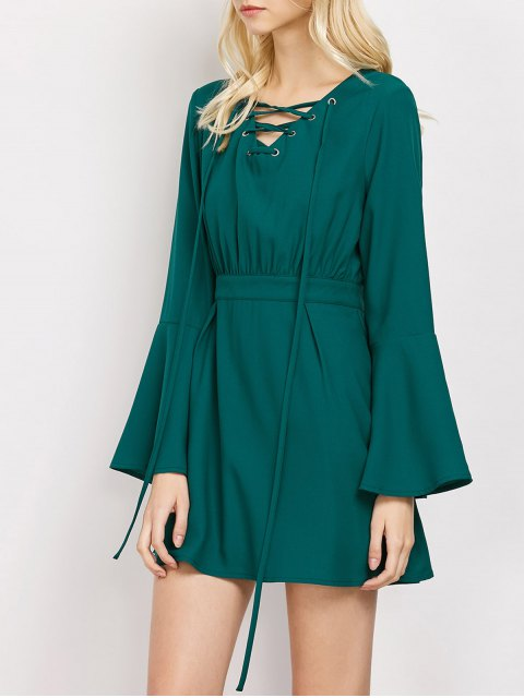 womens Lace-Up Mini Dress - GREEN M Mobile