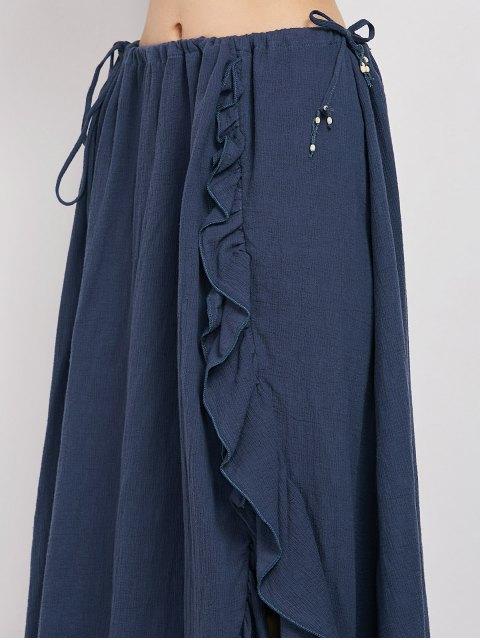 new Drawstring Ruffles Slit Skirt - BLUE L Mobile