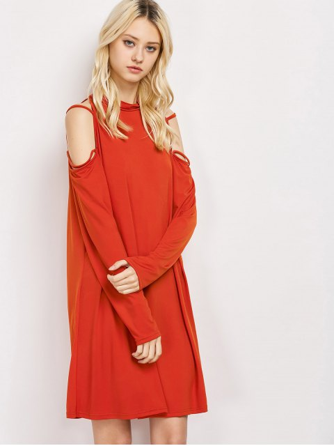 best Long Sleeve Loose Cold Shoulder Swing Dress - RED XL Mobile