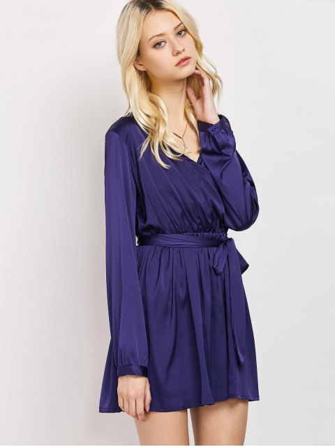 chic Long Sleeve A-Line Wrap Dress - BLUE L Mobile