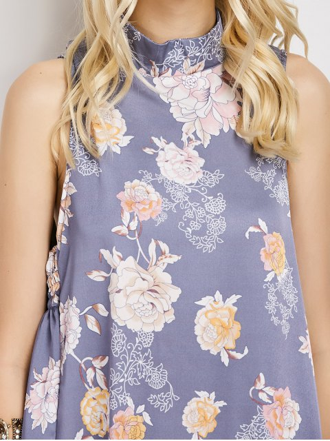 online Sleeveless Flower Swing Dress - FLORAL M Mobile