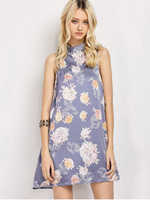 best Sleeveless Flower Swing Dress - FLORAL L Mobile