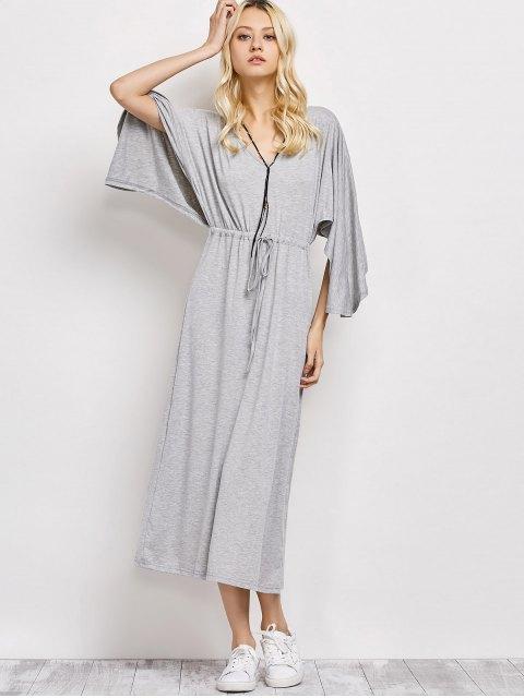 sale V Neck Drawstring Loose Maxi Dress - LIGHT GRAY 2XL Mobile