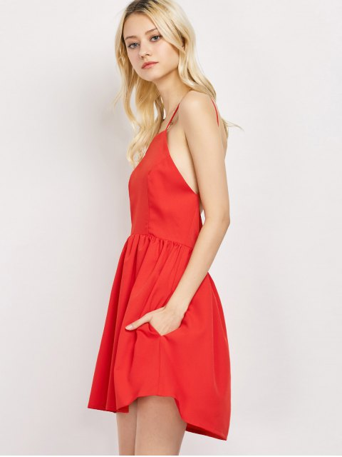 unique Puffball Backless Prom Dress - RED L Mobile