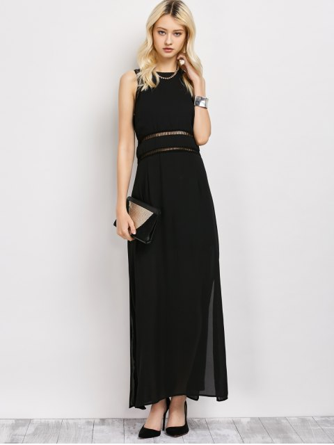 women's Slit Cut Out Prom Dress - BLACK M Mobile