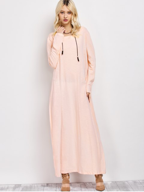 best Skew Neck Long Sleeve Loose Maxi Dress - LIGHT APRICOT PINK L Mobile