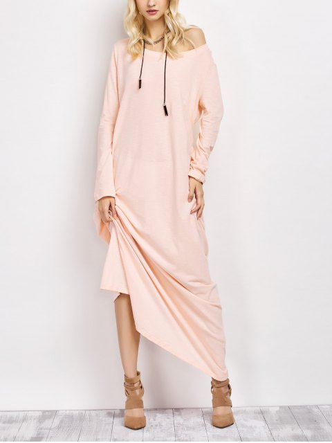 new Skew Neck Long Sleeve Loose Maxi Dress - LIGHT APRICOT PINK S Mobile