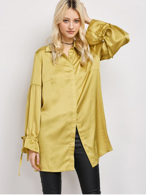shops Lantern Sleeve Long Vintage Shirt - CELADON 2XL Mobile