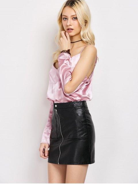 fancy Cold Shoulder Satin Cami Top - PINK S Mobile
