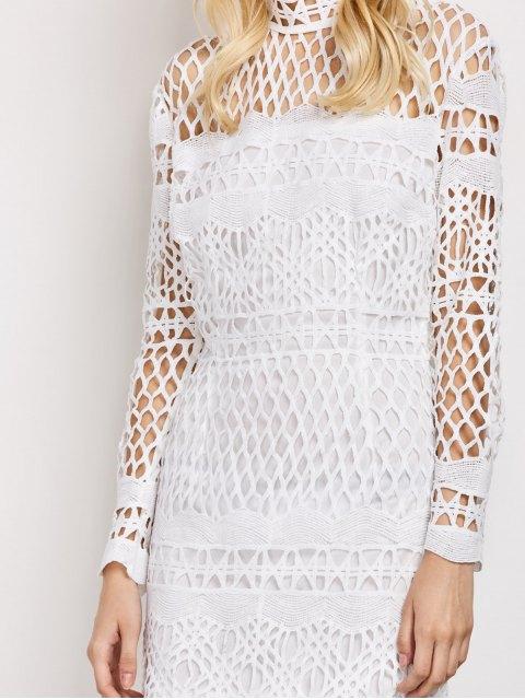 women's Long Sleeve Geometric Lace Dress - WHITE M Mobile