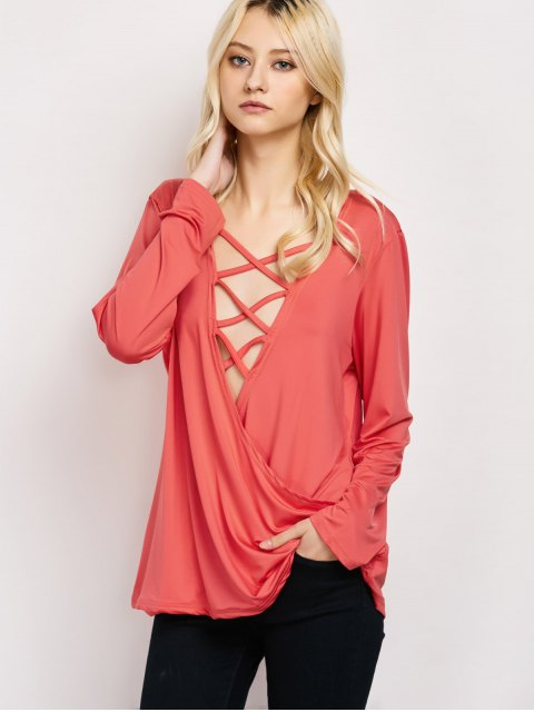 hot Wrap Cut Out T-Shirt - RED S Mobile