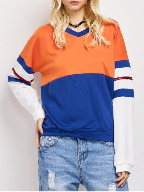 hot Color Block Casual Sweatshirt - BLUE M Mobile