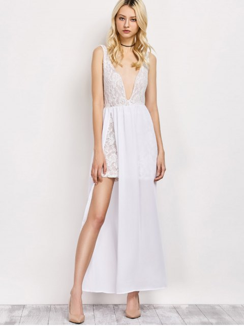 unique Lace Panel Slit Prom Dress - WHITE L Mobile