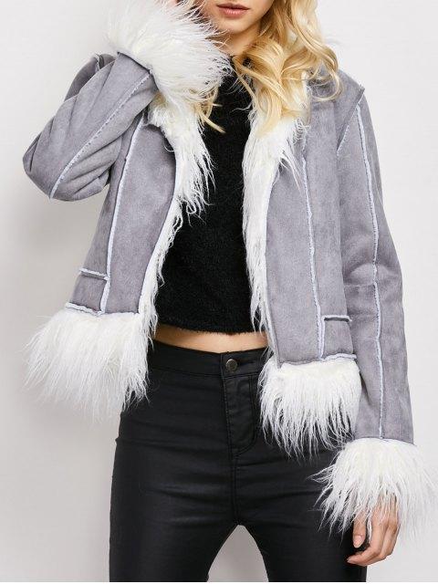 womens Faux Fur Trim Faux Shearling Jacket - GRAY S Mobile