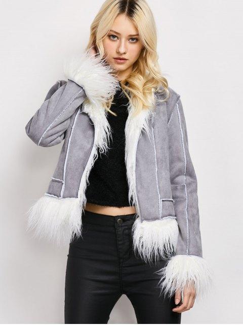 buy Faux Fur Trim Faux Shearling Jacket - GRAY M Mobile
