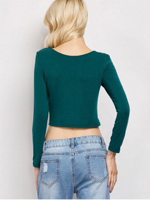 fancy Cut Out Lace-Up T-Shirt - GREEN M Mobile
