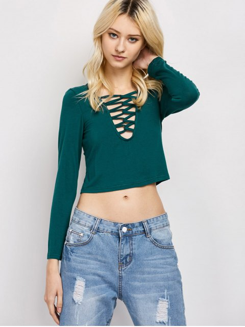 chic Cut Out Lace-Up T-Shirt - GREEN L Mobile
