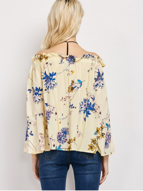 new Off The Shoulder Flare Sleeve Floral Blouse - YELLOW M Mobile