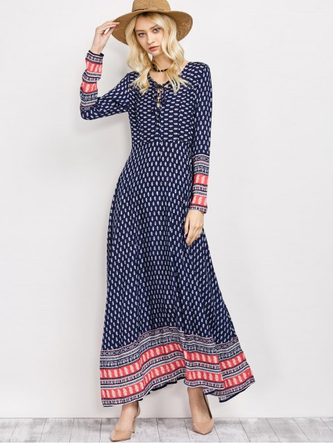 women Retro Print Lace Up Long Dress With Sleeves - BLUE M Mobile