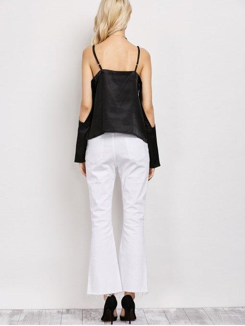 hot Cold Shoulder Satin Cami Top - BLACK M Mobile
